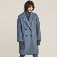 DOUBLED WOOL RAGLAN OVERFIT COAT (BLUE)