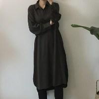 실키원단 셔츠 원피스 _카키