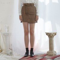 Vintage Check Unbalance Mini Skirt