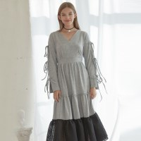 Check Long Jersey Dress_Grey