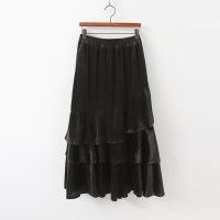 Velvet Frill Long Skirt