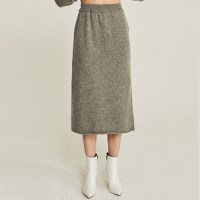 LAMBS WOOLEN KNIT SKIRT (GRAY)