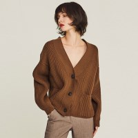 OVERFIT WOOLEN CARDIGAN (BROWN)