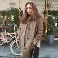 Fur collar half coat