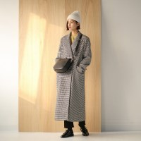 classy check wool coat