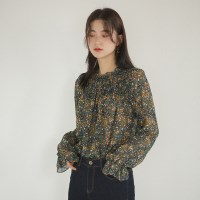 flower pattern smock blouse
