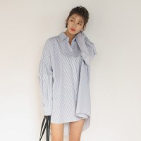 stripe boxy long shirts