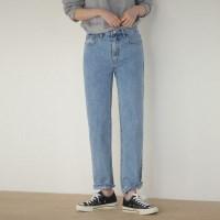 2 color simple straight denim pants