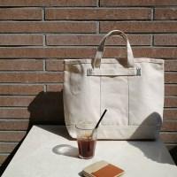 Canvas Tote Bag / Green stitch