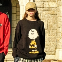 [SS18 Peanuts] Charlie Knit(Black)_(599975)