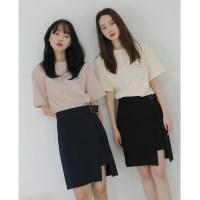 [치즈달] front belted skirt