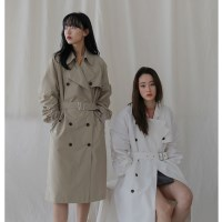 [치즈달] over shirring trench coat