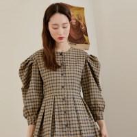 [치즈달] puff sleeve check dress
