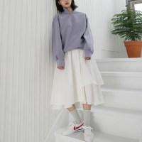 Natural unbal long skirt
