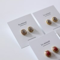 [2 colors] Vintage oval earring (빈티지 귀걸이)