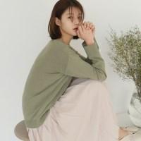 Spring natural v-neck knit