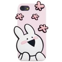 아이폰 오버액션토끼 실리콘케이스 - 플라워핑크