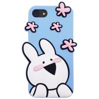 아이폰 오버액션토끼 실리콘케이스 - 플라워블루