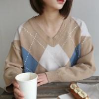 Argyle fresh v-neck knit