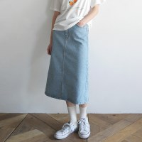Denim midi long skirt
