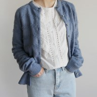 Twist cable puffy cardigan