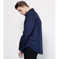 UNISEX SIDE DOUBLE DETAIL SHIRT NAVY