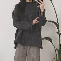 보카시 절개 반하이 박시 스웨터 _챠콜
