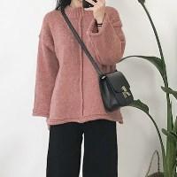 보카시 절개 반하이 박시 스웨터 _핑크