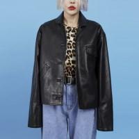 leather crop jacket (2 color)_(886811)