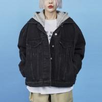 zipper hood denim jacket (2 color)_(886806)