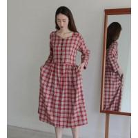 [치즈달] back-ribbon check dress