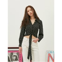 Retro Dot Blouse in Black