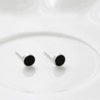 심플 오닉스 라운드 귀걸이