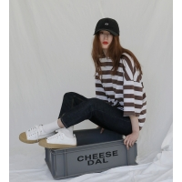 [치즈달] 스트라이프 박시 티셔츠