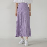 girlish crease long skirt