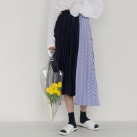 3-concept pleats banding long skirt