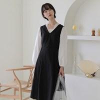 [치즈달] 백 스트링 블랙 드레스