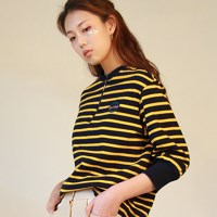STRIPE Zipper T-Shirts_YELLOW