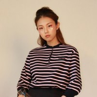 STRIPE Zipper T-Shirts_PINK