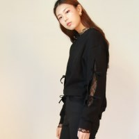 Lace Slit Sweatshirt_Black