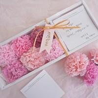 카네이션 비누꽃 용돈박스 - 화이트 상자