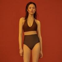 [비키니밴더] 세미플런징 홀터넥 원피스 비키니 - brown