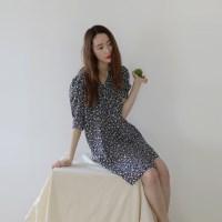 플로랄 네이비 드레스