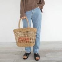 Opening straw basket bag
