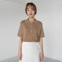 Soft button collar knit