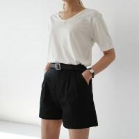 Pintuck belt short pants