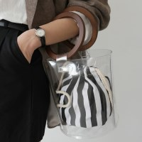 Clear bucket wooden bag