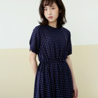 RAYON PATTERN ONEPIECE-NAVY