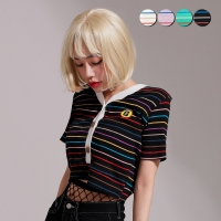 Cardigan Neck Striped Crop Top(4color)