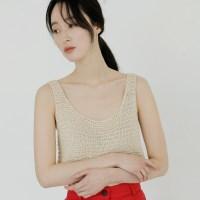 [치즈달] 네트 니팅 슬리브리스 탑